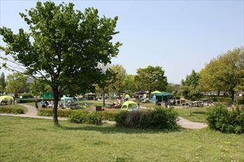 戸田川緑地でバーベキュー場ができるピクニック広場