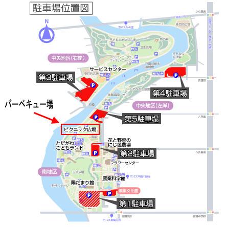 戸田川緑地の駐車場とバーベキュー場マップ