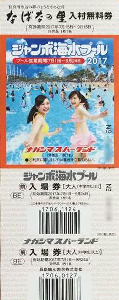 金券ショップやオークションで販売されていジャンボ海水プール 一般入場券