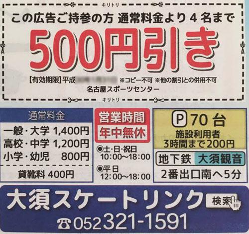 入場料金の500円割引券
