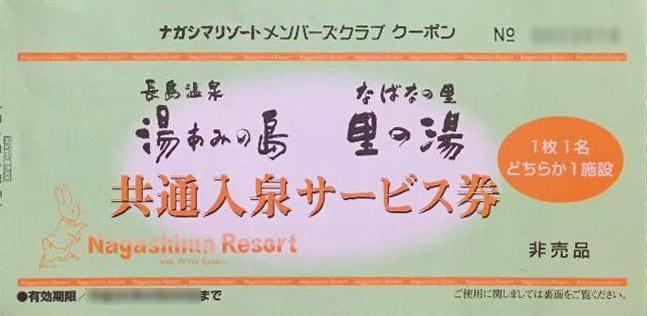 湯あみの島の入泉サービス券