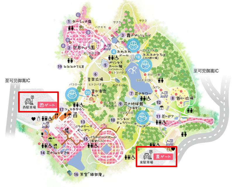花フェスタ記念公園の駐車場の地図