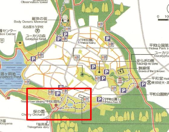平和公園の桜の園の地図