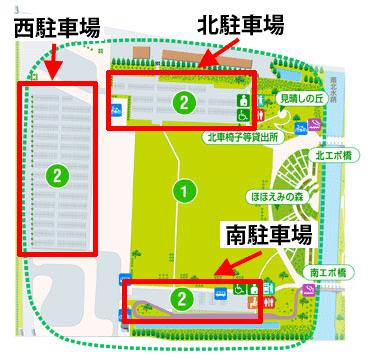 駐車場がある西側エリアを拡大したマップ