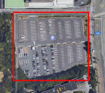 上から見た浜松城公園駐車場