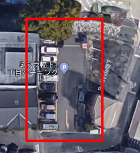 上から見たミウラ幅下1丁目パーキング