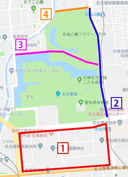 名古屋城の周辺で路上駐車が可能な道路マップ