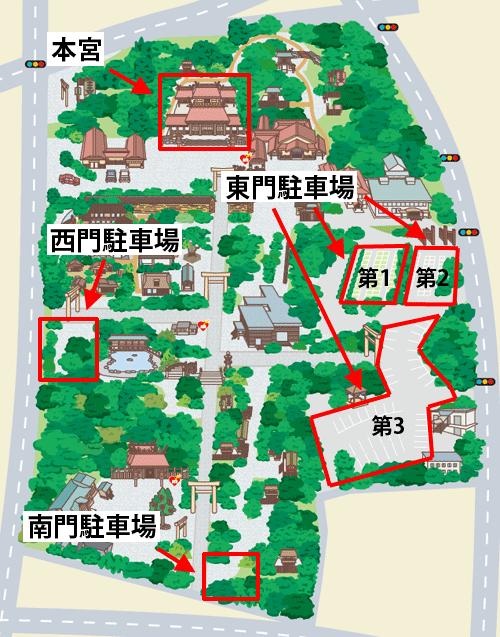 熱田神宮の専用駐車場マップ02