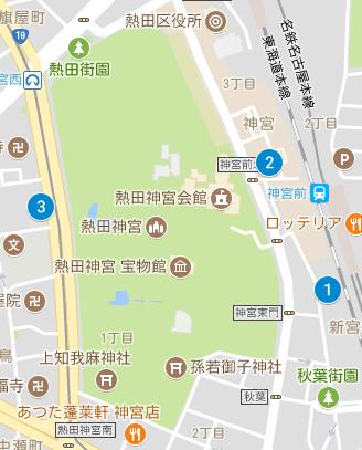 熱田神宮付近の安いおすすめの駐車場マップ
