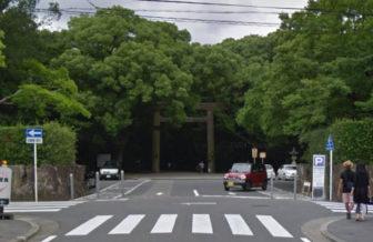熱田神宮の南門駐車場の入口