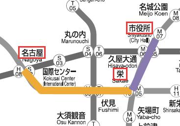 名古屋駅から市役所駅のマップ01