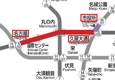 名古屋駅から市役所駅のマップ02