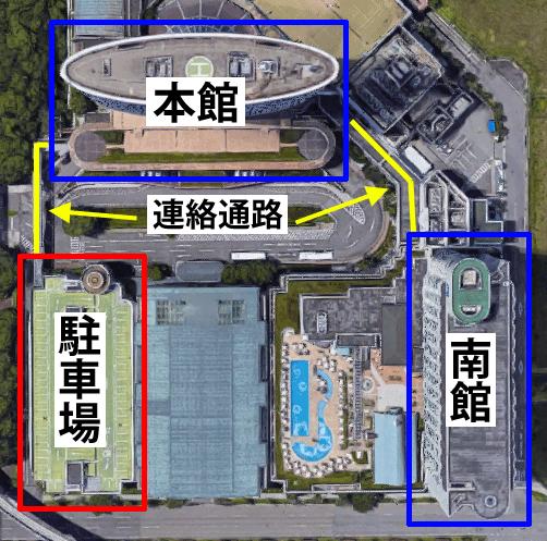 神戸ポートピアホテルの駐車場の地図