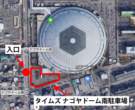 タイムズ ナゴヤドーム南駐車場のマップ