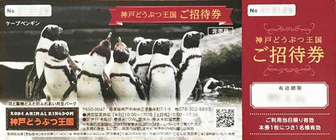 神戸どうぶつ王国の招待券