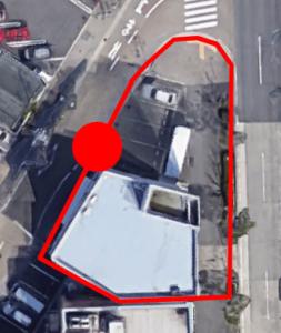 上から見た「あつた蓬莱軒本店」の駐車場C