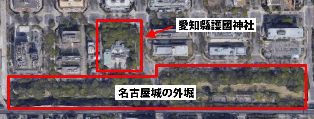 護国神社と名古屋城の外堀