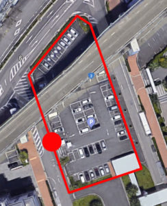 上から見たかもめりあ駐車場