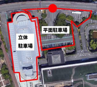 上から見たホテルオークラ神戸の駐車場
