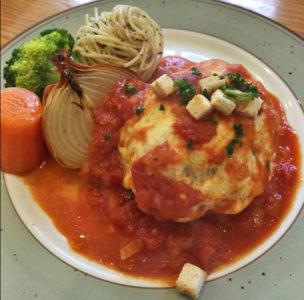 トマトソースチーズハンバーグ