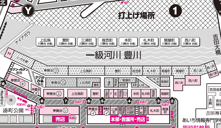 桟敷席の全体地図