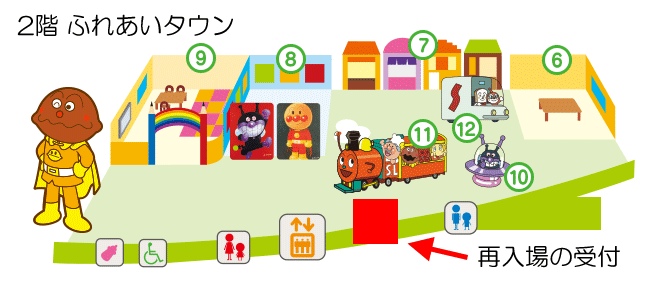 横浜アンパンマンミュージアムの再入場の受付場所